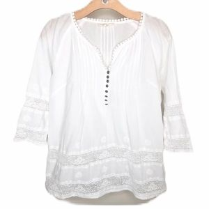 Solitaire Boho Peasant Top White Lace Blouse Med